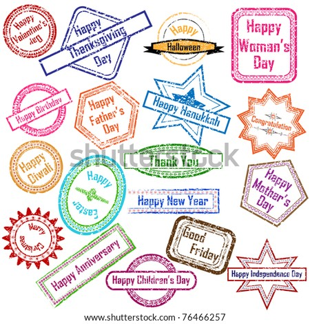illustration of stamp for different festival on isolated background - stock vector