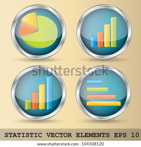 Illustration of statistic elements in four variations - stock vector