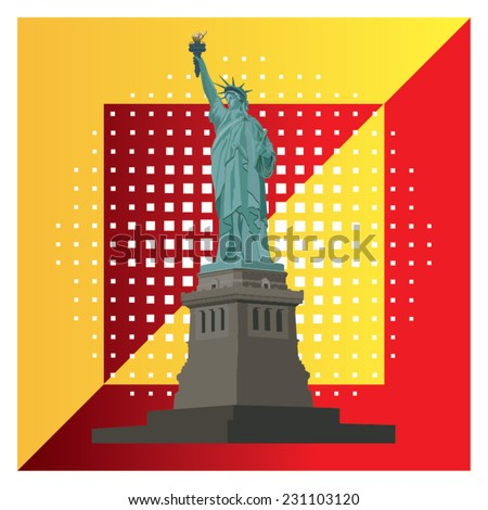Illustration of Statue Liberty National Monument in New York, USA. - stock vector