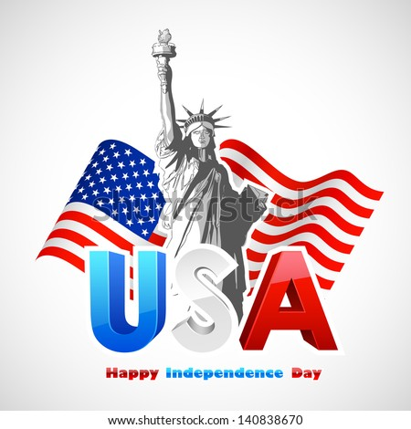 illustration of Statue of Liberty on American flag background for Independence Day - stock vector