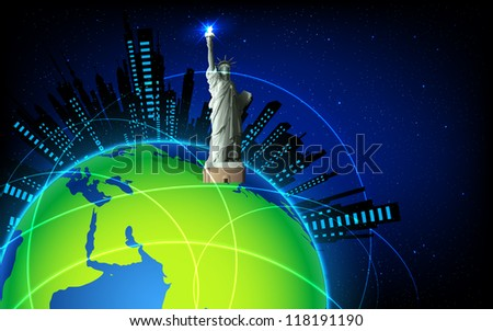 illustration of Statue of Liberty on Earth - stock vector