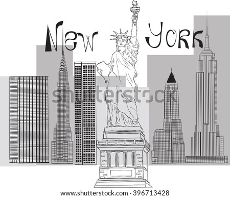 illustration of Statue of Liberty on the background of the famous skyscrapers of Manhattan. EPS10 - stock vector