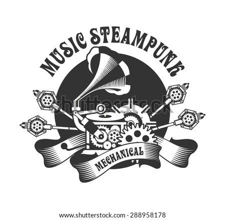 illustration of Steam punk with an antique gramophone mechanical components and rotating parts on a white background - stock vector