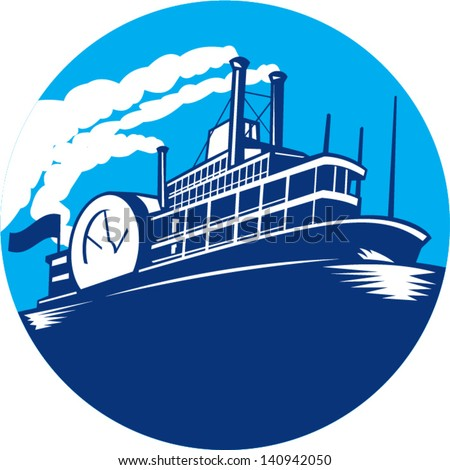 Illustration of steamboat ferry passenger ship vessel sailing set inside circle done in retro style. - stock vector