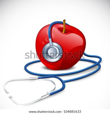 illustration of stethoscope around apple on abstract background