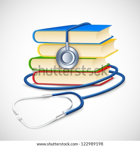 illustration of stethoscope on pile of medical book - stock vector