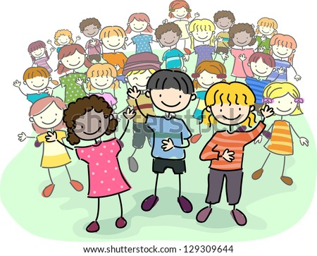 Illustration of Stick Kids Leading a Crowd - stock vector