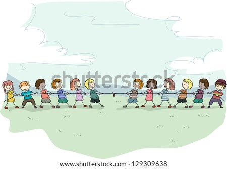 Illustration of Stick Kids playing Tug of War - stock vector