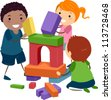 Illustration of Stick Kids Playing with Building Blocks - stock photo