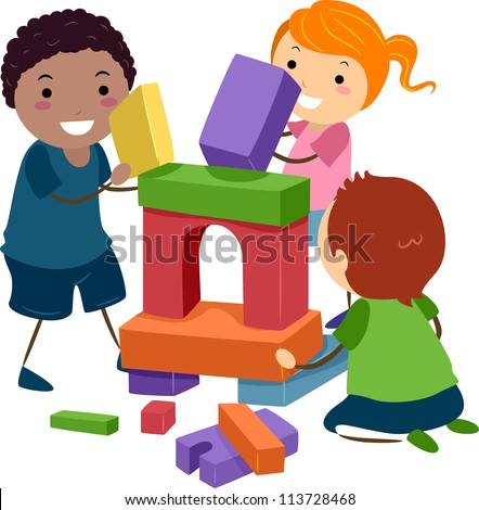 Illustration of Stick Kids Playing with Building Blocks - stock vector
