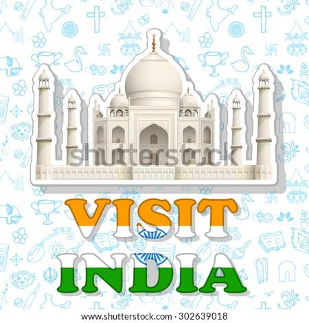 illustration of sticker of visit India with Taj Mahal - stock vector