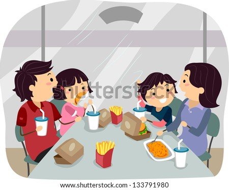 Illustration of Stickman Family dining in a Fastfood - stock vector