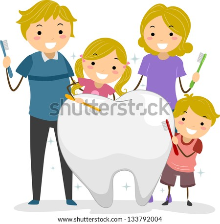 Illustration of Stickman Family holding a Toothbrush cleaning a Big Tooth - stock vector