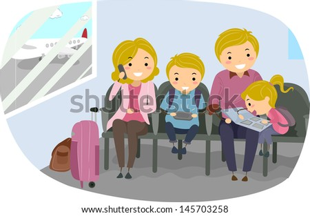 Illustration of Stickman Family in an Airport - stock vector