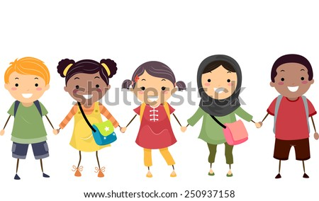 Illustration of Stickman Kids Celebrating Diversity - stock vector