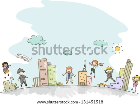 Illustration of Stickman Kids dressed as Adults with different professions - stock vector