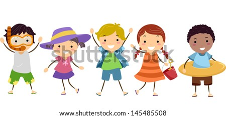 Illustration of Stickman Kids in Summer Outfit with Summer Gear - stock vector