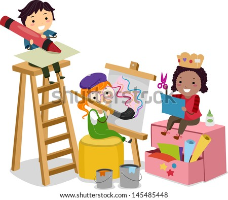 Illustration of Stickman Kids making Arts and Crafts - stock vector