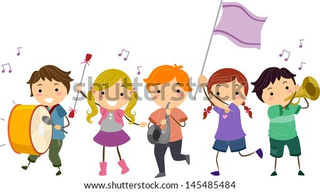 Illustration of Stickman Kids Marching Band - stock vector