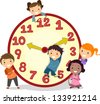 Illustration of Stickman Kids on a Big Clock - stock vector