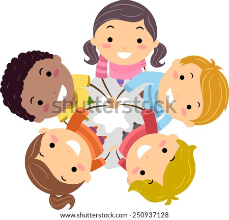 Illustration of Stickman Kids Putting Their Hands Together in a Show of Unity - stock vector