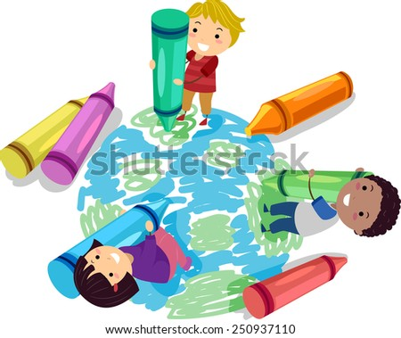 Illustration of Stickman Kids Using Crayons to Draw a Globe - stock vector