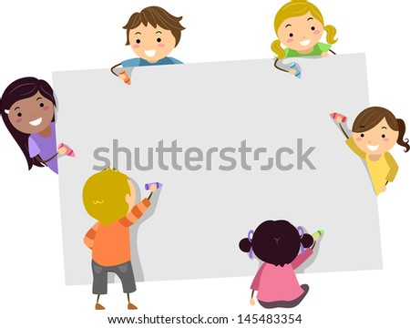 Illustration of Stickman Kids Writing with Crayons on a Blank Board - stock vector