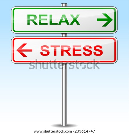 illustration of stress and relax directional signs