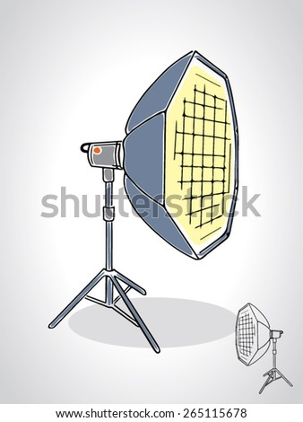illustration of studio octobox with a black outline isolated on white - stock vector