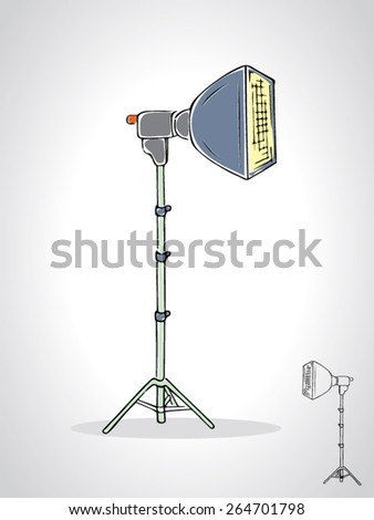 illustration of studio soft box with a black outline isolated on white