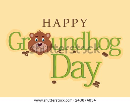 Illustration of stylish text for Groundhog Day in yellow background. - stock vector
