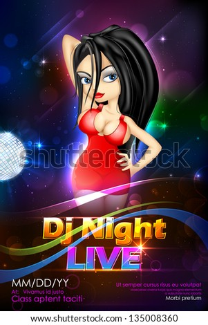 illustration of stylish woman on DJ musical background - stock vector