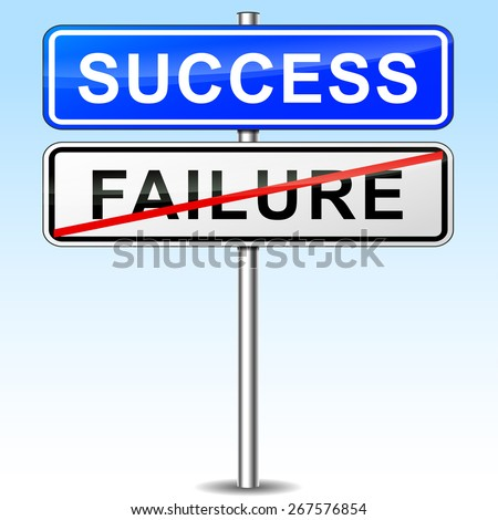 illustration of success metal blue road sign - stock vector