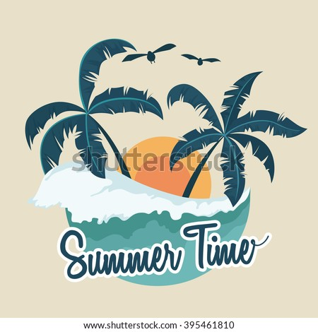 Illustration of Summer Badge With Palm Tree and Wave - stock vector