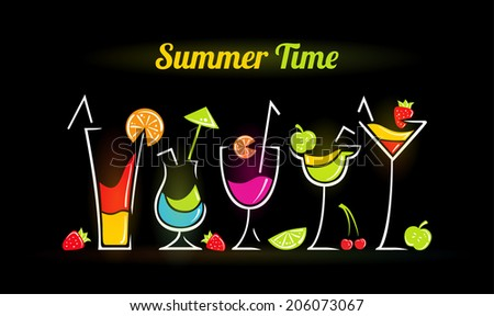 Illustration of summer composition with cocktails