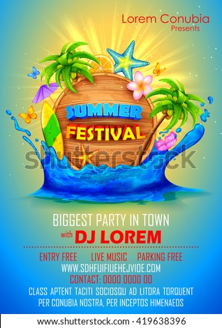 Illustration Summer Festival Poster Design Stock Vector 419638396 Shutterstock