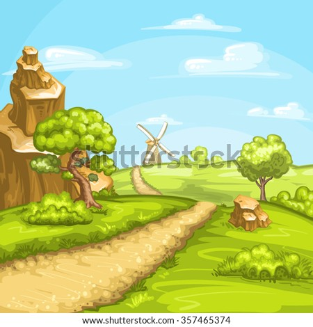 Illustration of summer fields with a mill - stock vector