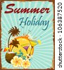 illustration of summer holiday poster with palm tree and coconut - stock photo