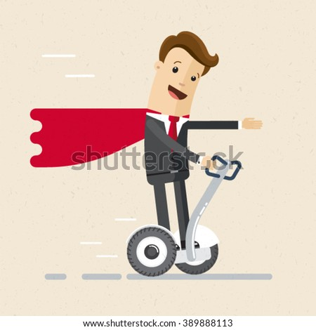 Illustration of  super man.  Manager or business man in a suit of super hero on segway. Vector EPS 10