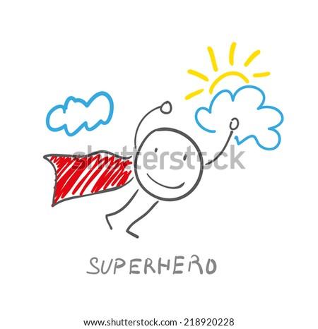 illustration of superhero flying in sky - stock vector