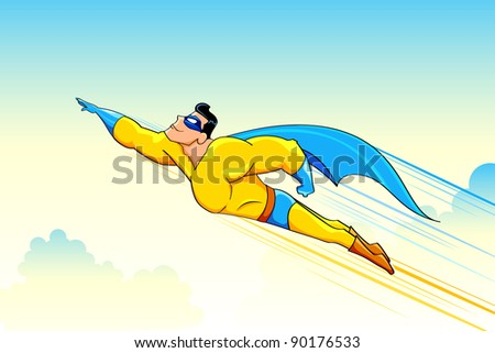 illustration of superhero wearing cape flying in sky - stock vector