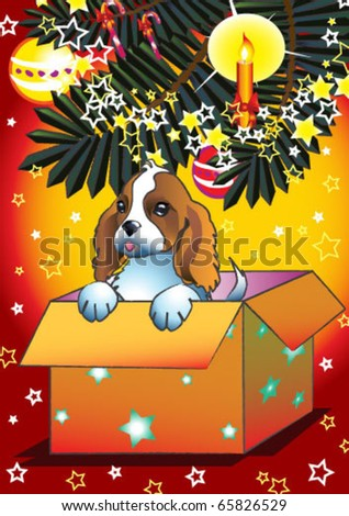 Illustration of sweet dog in christmas present - stock vector