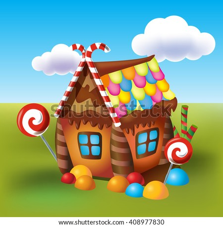 Illustration of sweet house of cookies and candy on a background of meadows and growing caramels. - stock vector