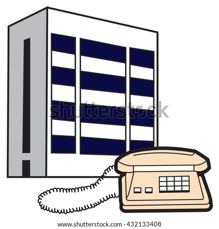 Illustration of symbolic buildings telecom and telephone - stock vector