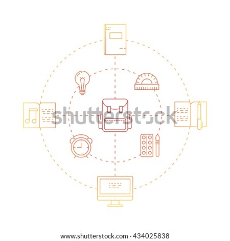 Illustration of symbols school objects and college items. Education and learning concept made in line style vector. Illustration for poster and header, banner, icons and other flat design web elements - stock vector