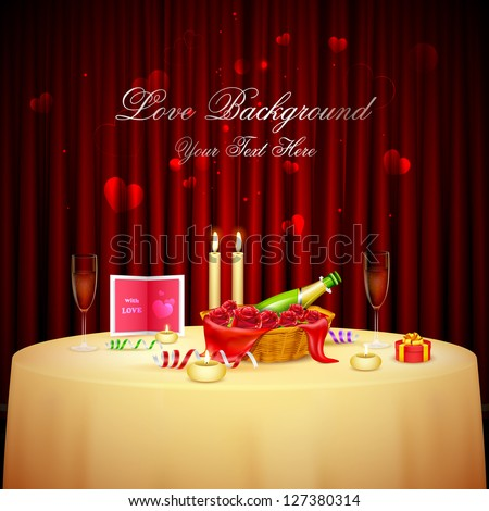 illustration of table decorated for candlelight dinner for Valentine's Day - stock vector