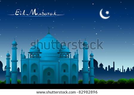 illustration of Taj Mahal in night view on eid mubarak background - stock vector