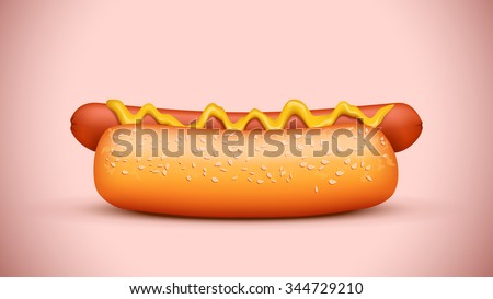 illustration of tasty hot dog view from side on colorful background - stock vector