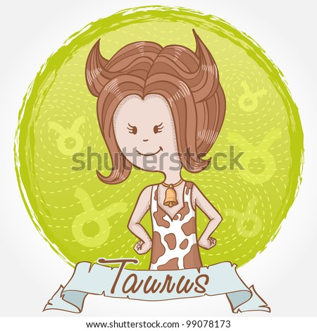 Illustration of Taurus zodiac sign in cute cartoon style as a girl dressed like a cow with spots, horns and bell