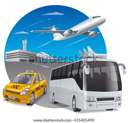illustration of taxi car and bus in airport for passengers